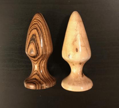Medium wooden anal plugs custom made by John Brownstone
